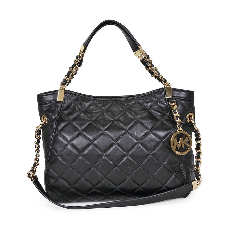 b0e3576ad2fe Open Box - Michael Kors Susannah Medium Quilted Leather Satchel Tote - Black