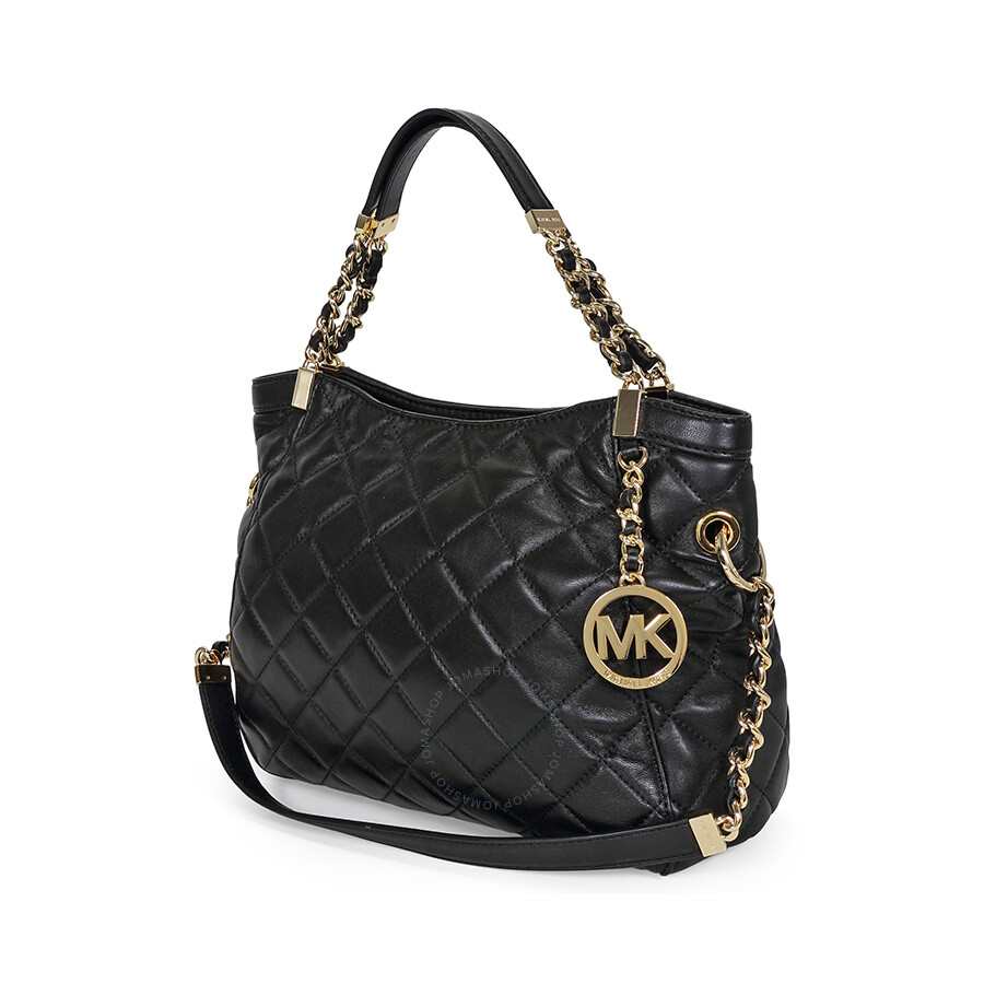 dbe75d2078b6 Open Box - Michael Kors Susannah Medium Quilted Leather Satchel Tote - Black