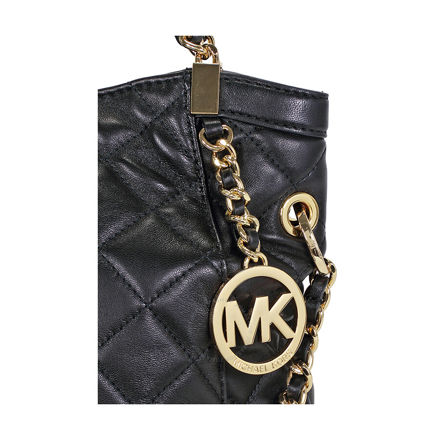 281de27aed83 Open Box - Michael Kors Susannah Medium Quilted Leather Satchel Tote - Black