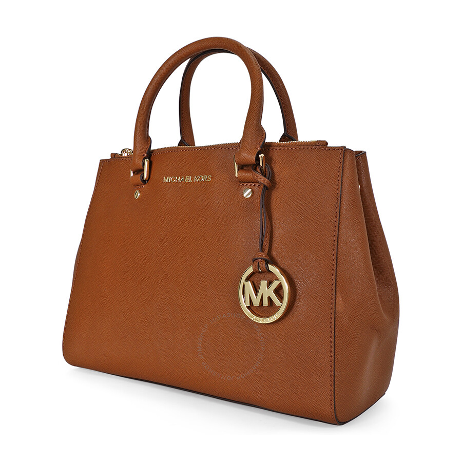 Open Box Michael Kors Sutton Leather Medium Satchel Handbag Brown