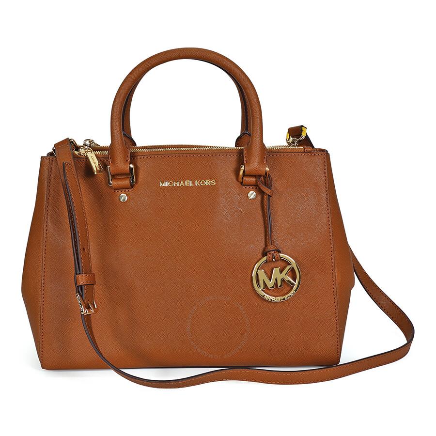 dd293ab5f3e3 Open Box - Michael Kors Sutton Leather Medium Satchel Handbag - Brown