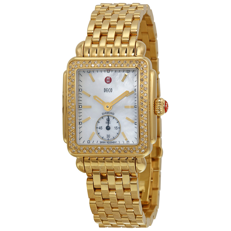 Open Box   Deco 16 Mother Of Pearl Dial Diamond Bezel Ladies Watch by Michele