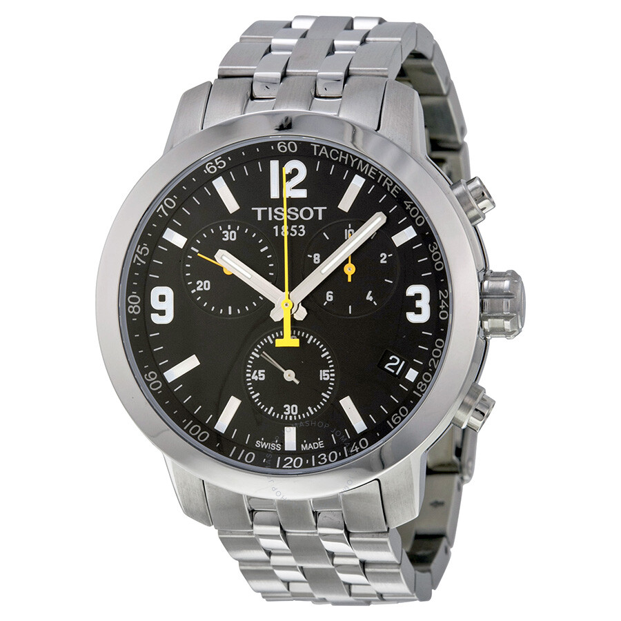 a4417f757df Open Box - Tissot PRC 200 Chronograph Black Dial Stainless Steel Men s Watch  T0554171105700