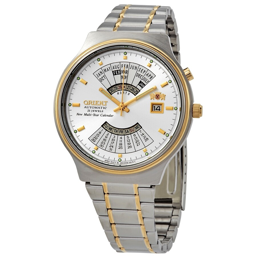 Feu00000ww Calendar Perpetual Watch Automatic Men's White Orient Dial Time World FTlK13cJ