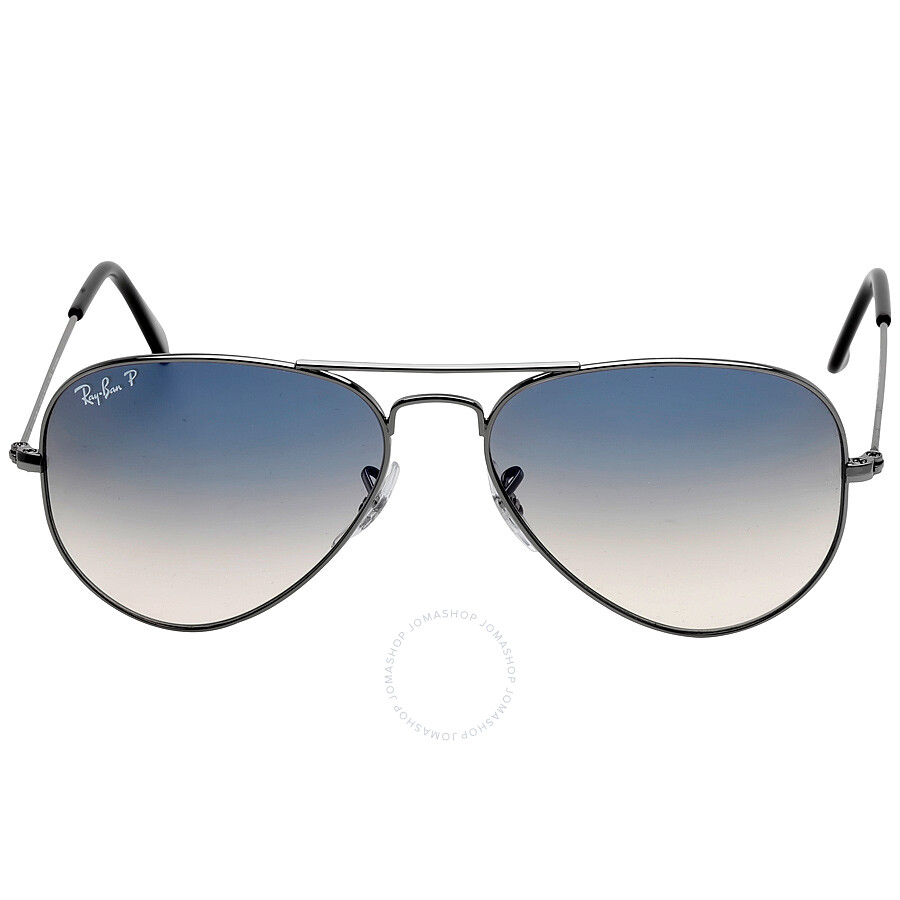 7d1f467138 Original Aviator Polarized Blue Gray Gradient Sunglasses RB3025-00478-55 ...