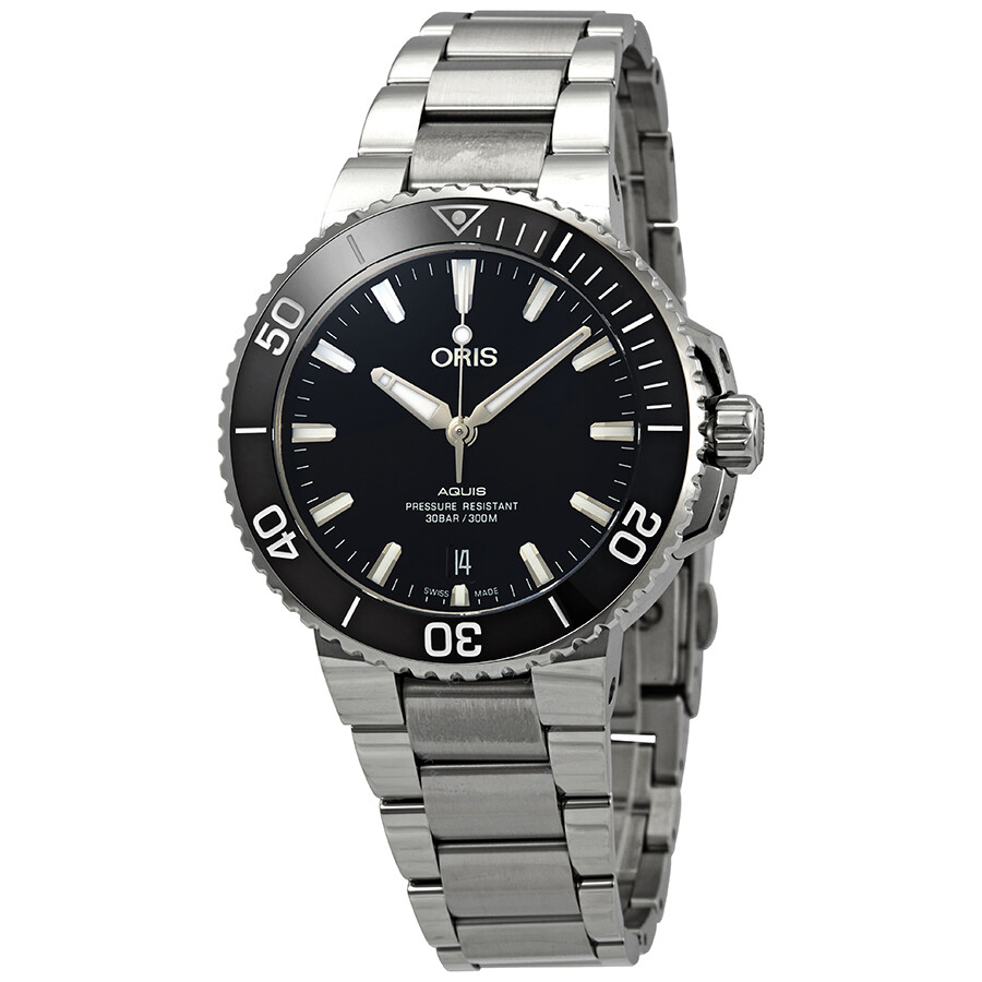 Aquis Automatic Black Dial Men's Stainless Steel Watch by Oris