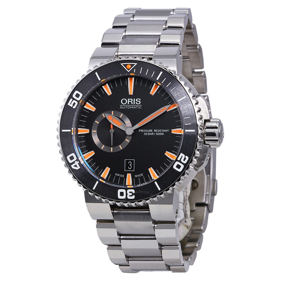 Oris aquis automatic black dial stainless steel men 39 s watch 743 7673 4159mb aquis oris for Oris watches