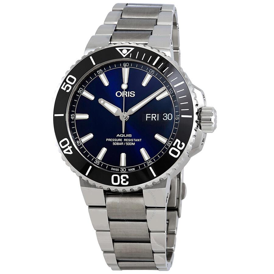 129c58e8df9af Oris Aquis Big Day Date Automatic Men s Blue Dial Watch 01 752 7733 4135-07  ...