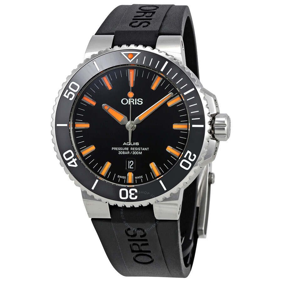 Oris aquis black dial automatic men 39 s rubber watch 01 733 7730 4159 07 4 24 64eb aquis oris for Oris watches