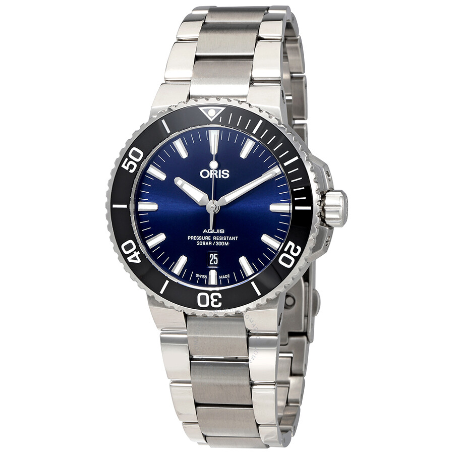 Oris aquis automatic blue dial men 39 s watch 01 733 7730 4135 07 8 24 05peb aquis oris for Oris watches