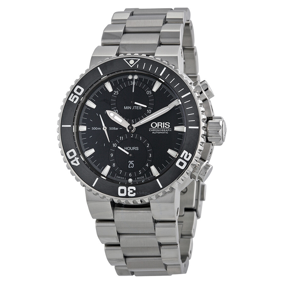 Oris aquis chronograph automatic black dial stainless steel men 39 s watch 774 7655 4154mb for Oris watches