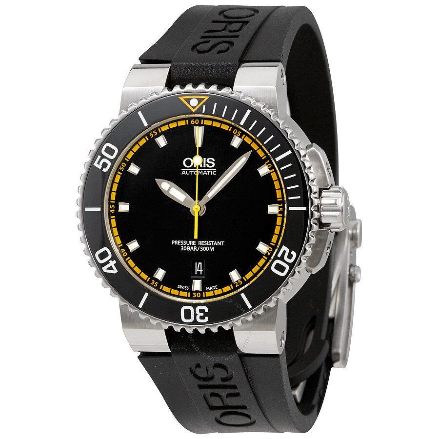 Oris aquis date automatic black dial men 39 s watch 01 733 7653 4127 07 4 26 34eb aquis oris for Oris watches