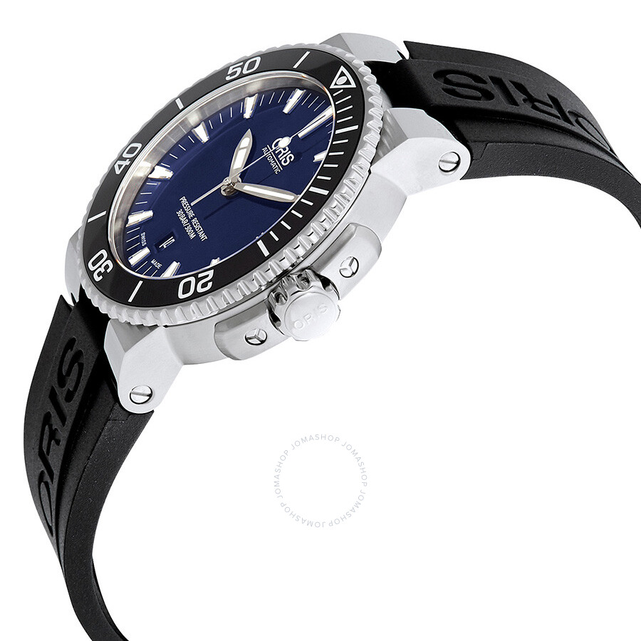 b3b0a234ccd ... Oris Aquis Date Dark Blue Dial Black Rubber Men's Watch 733-7653-4135RS  ...