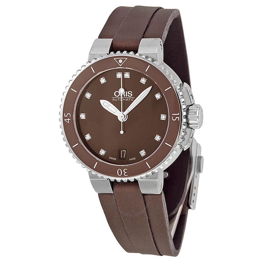oris aquis date diamonds brown brown textile