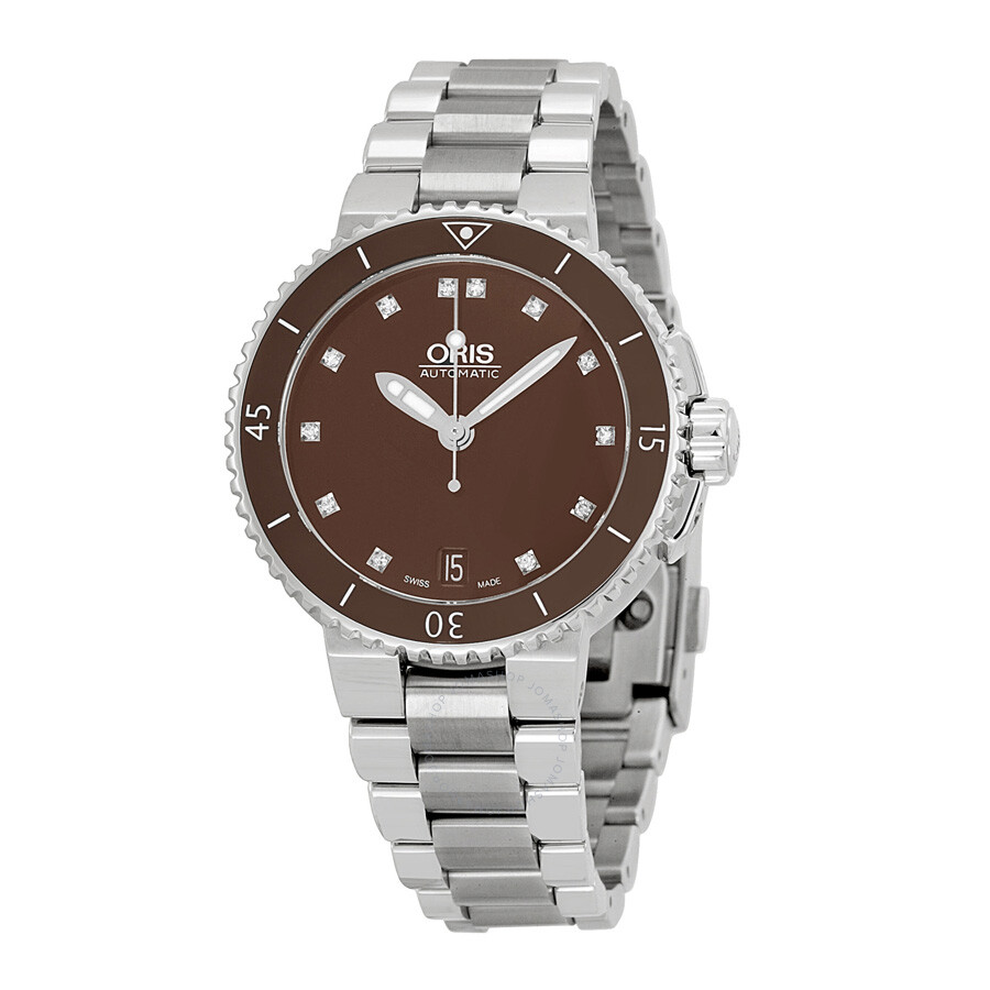 Oris aquis date diamonds brown dial stainless steel ladies watch 01 733 7652 4192 07 8 18 01p for Oris watches