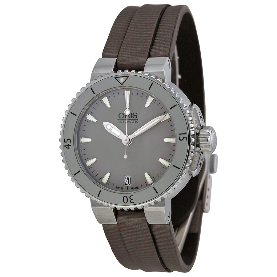 Oris aquis date grey dial black rubber watch 733 7652 4143ls aquis oris watches jomashop for Rubber watches