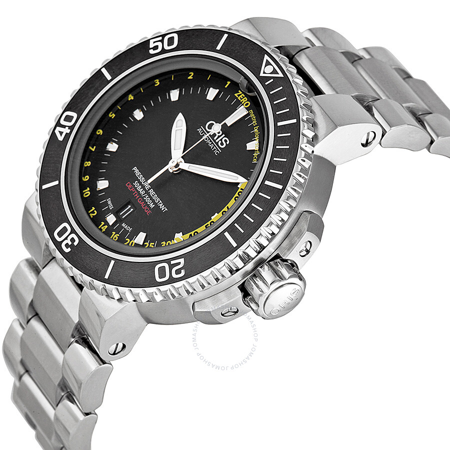 29248ef07 Oris Aquis Depth Gauge Automatic Black Dial Steel Men's Watch 733 -7675-4154MB