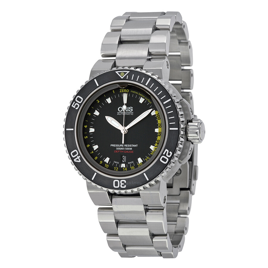 090ae21ef Oris Aquis Depth Gauge Black Dial Stainless Steel Men's Watch 733-7675-4154SET  Item No. 01 733 7675 4154-Set