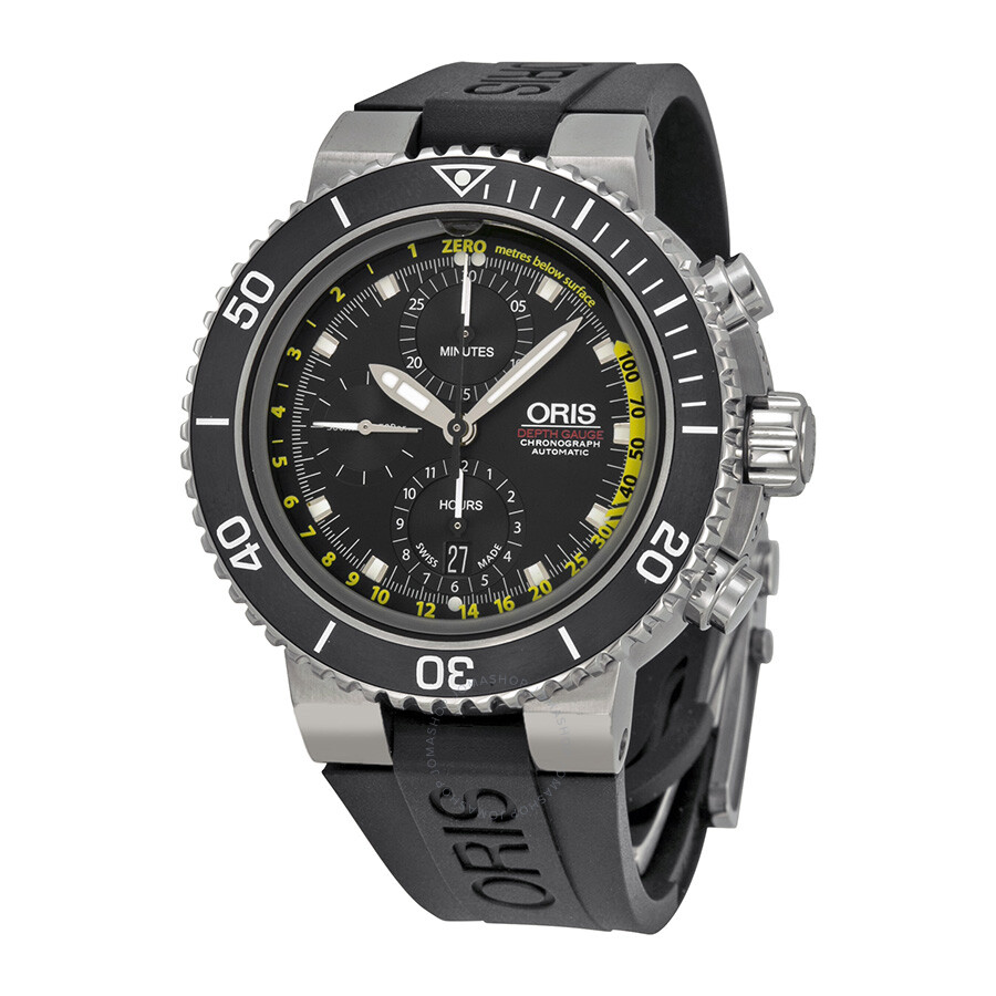 Oris aquis depth gauge chronograph black dial black rubber men 39 s watch 774 7708 4154set aquis for Oris watches