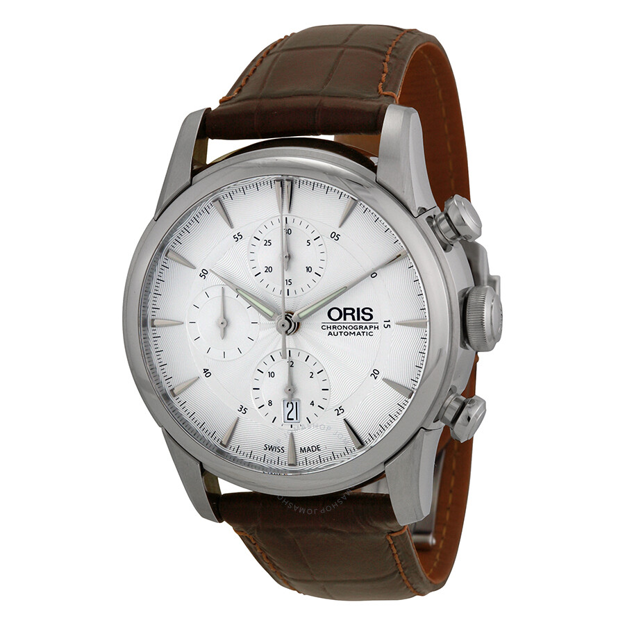 6c32793b4 Oris Artelier Chronograph Silver Dial Brown Leather Men's Watch 774-7686-4051LS  ...