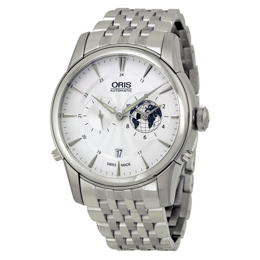 caa8b50a9 Oris Artelier GMT Automatic Silver White Dial Stainless Steel Men's Watch  690-7690-4081MB ...