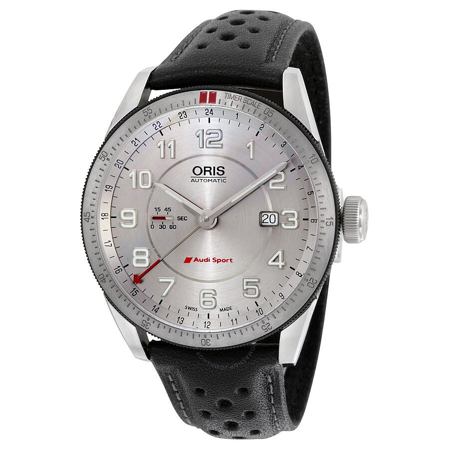 60d1d784a96 Oris Artix Audi Sport GMT Automatic Silver Dial Black Leather Men s Watch  747-7701-
