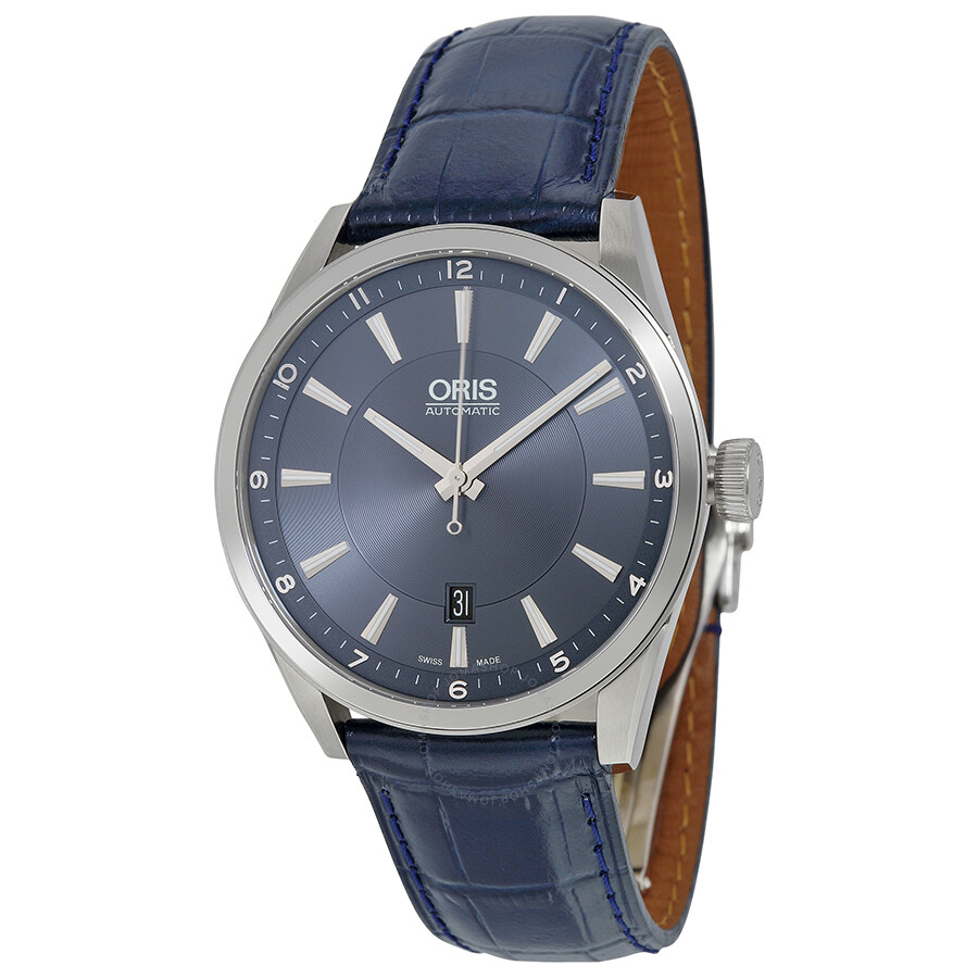 Oris artix automatic blue dial leather men 39 s watch 733 7642 4035ls artix oris watches for Oris watches