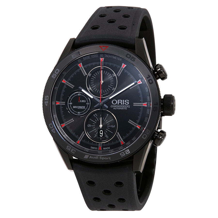 Oris audi sport black dial men 39 s chronograph rubber watch 01 774 7661 7784 set rs limited for Rubber watches