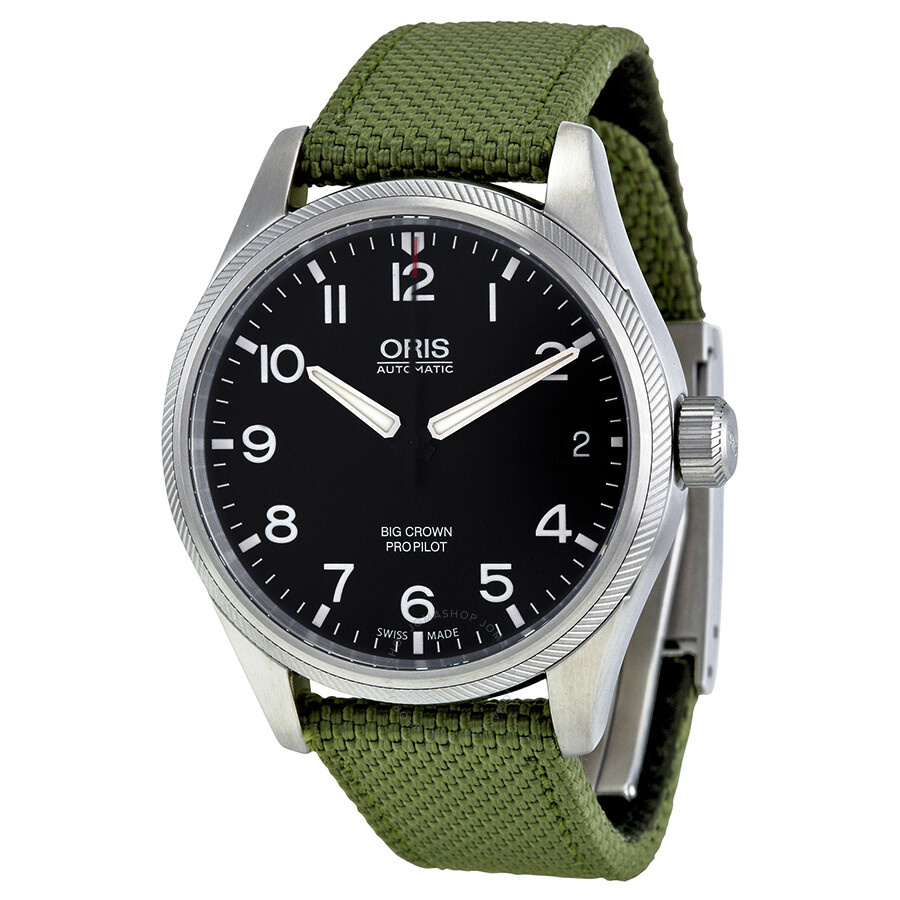 Oris big crown black dial automatic green textile strap men 39 s watch 751 7697 4164grfs big for Oris watches