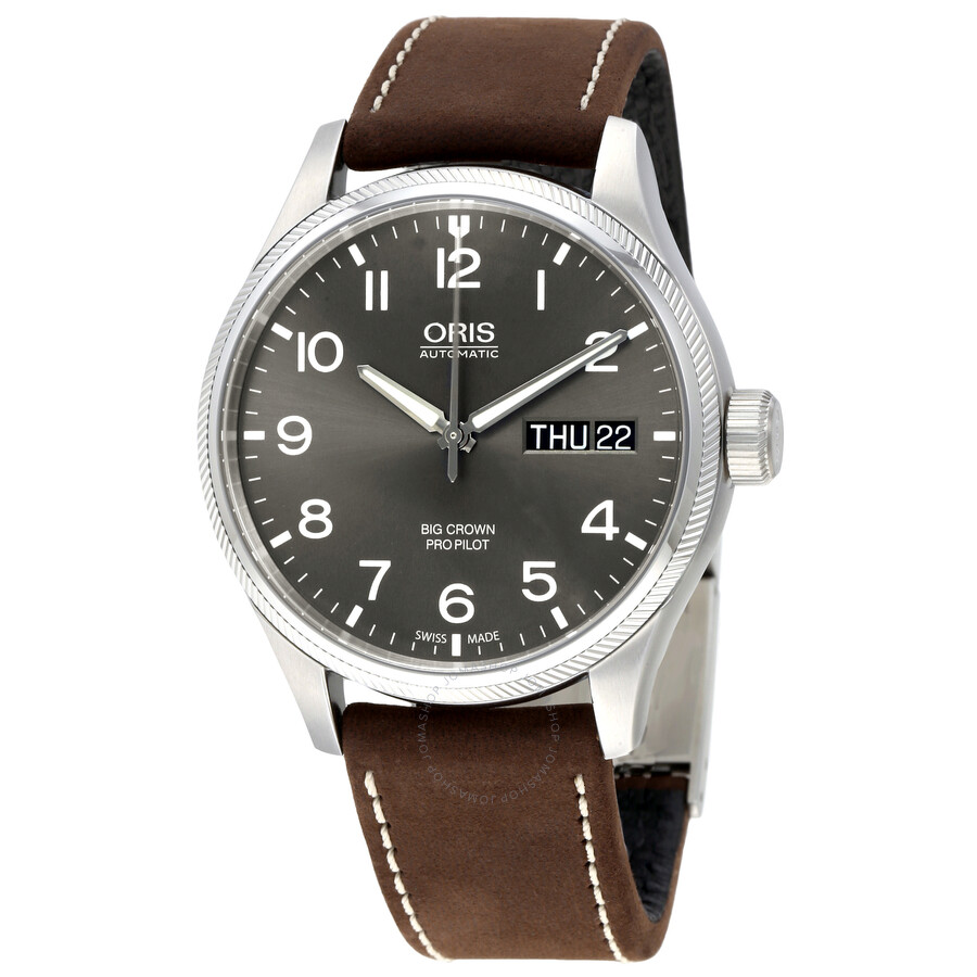 Oris big crown pro pilot automatic grey dial men 39 s watch 752 7698 4063brls big crown oris for Oris watches