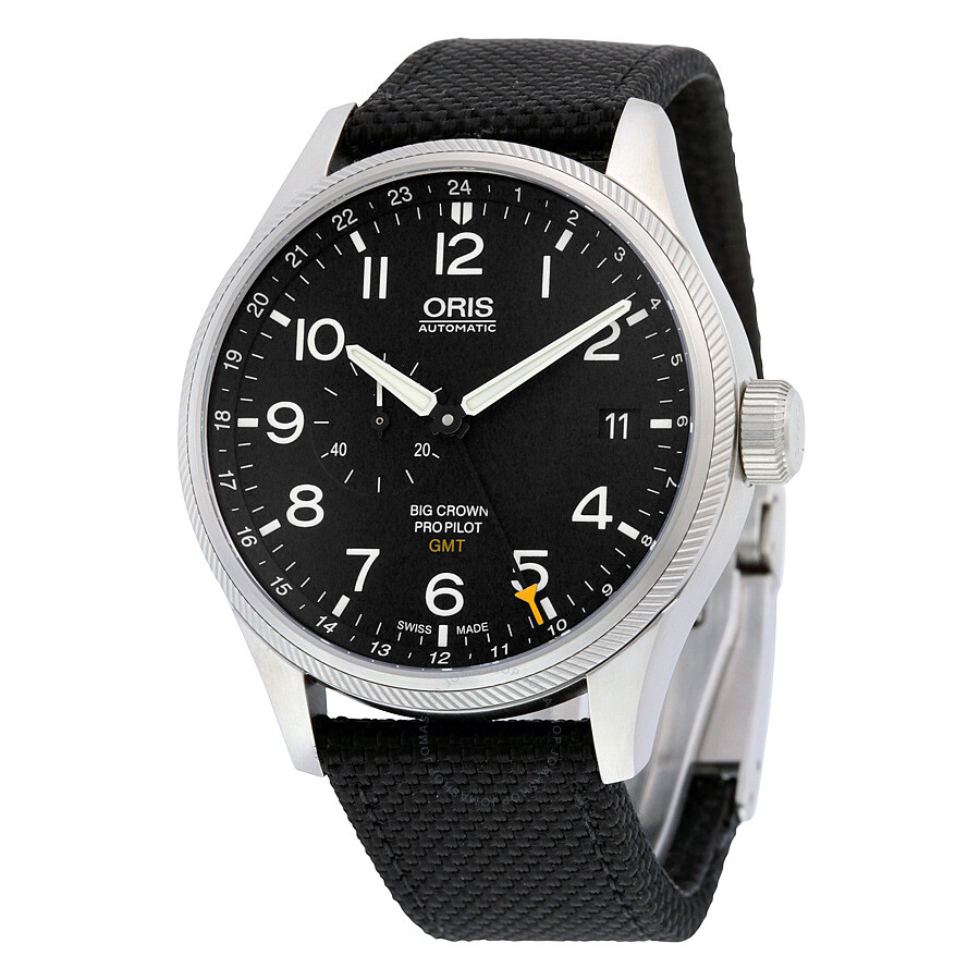 Oris big crown propilot gmt black dial men 39 s watch 748 7710 4164bkfs big crown oris for Oris watches