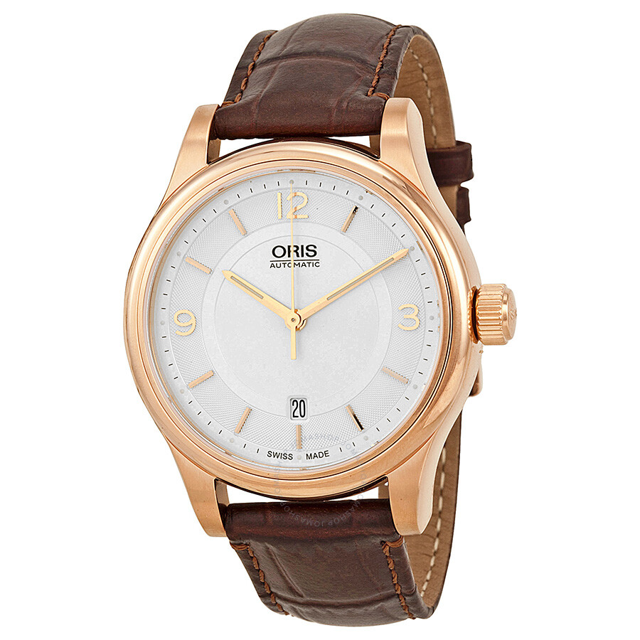 a1af8ff46d8 Oris Classic Date Silver Dial Brown Leather Men s Watch