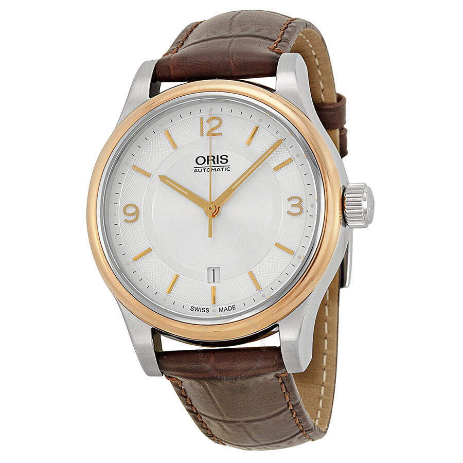 Oris classic date silver dial brown leather men 39 s watch 733 7594 4331ls classic oris for Oris watches