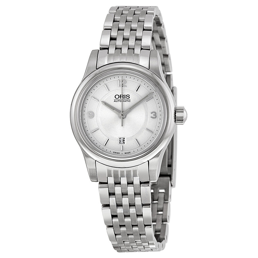 oris classic date silver stainless steel