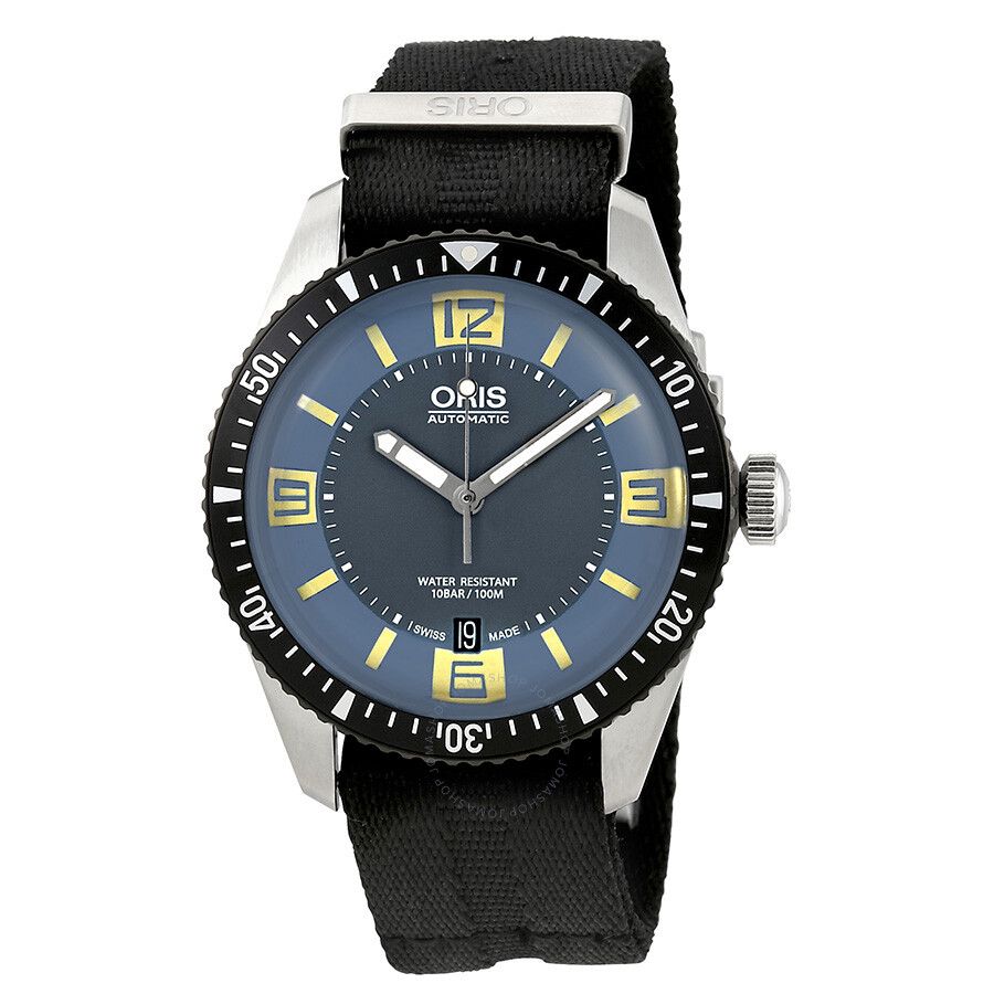 Oris diver sixty five grey blue dial men 39 s watch 01 733 7707 4065 07 5 20 26fc divers oris for Oris watches