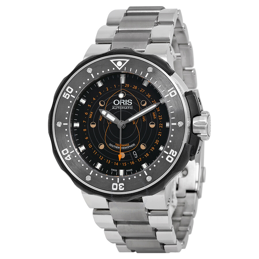 Oris prodiver pointer moon black dial titanium men 39 s watch 01 761 7682 7134 set prodiver for Oris watches