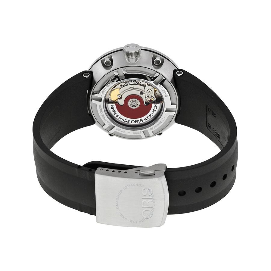 Oris tt1 black dial black rubber strap automatic men 39 s watch 735 7651 4174rs tt1 oris for Rubber watches