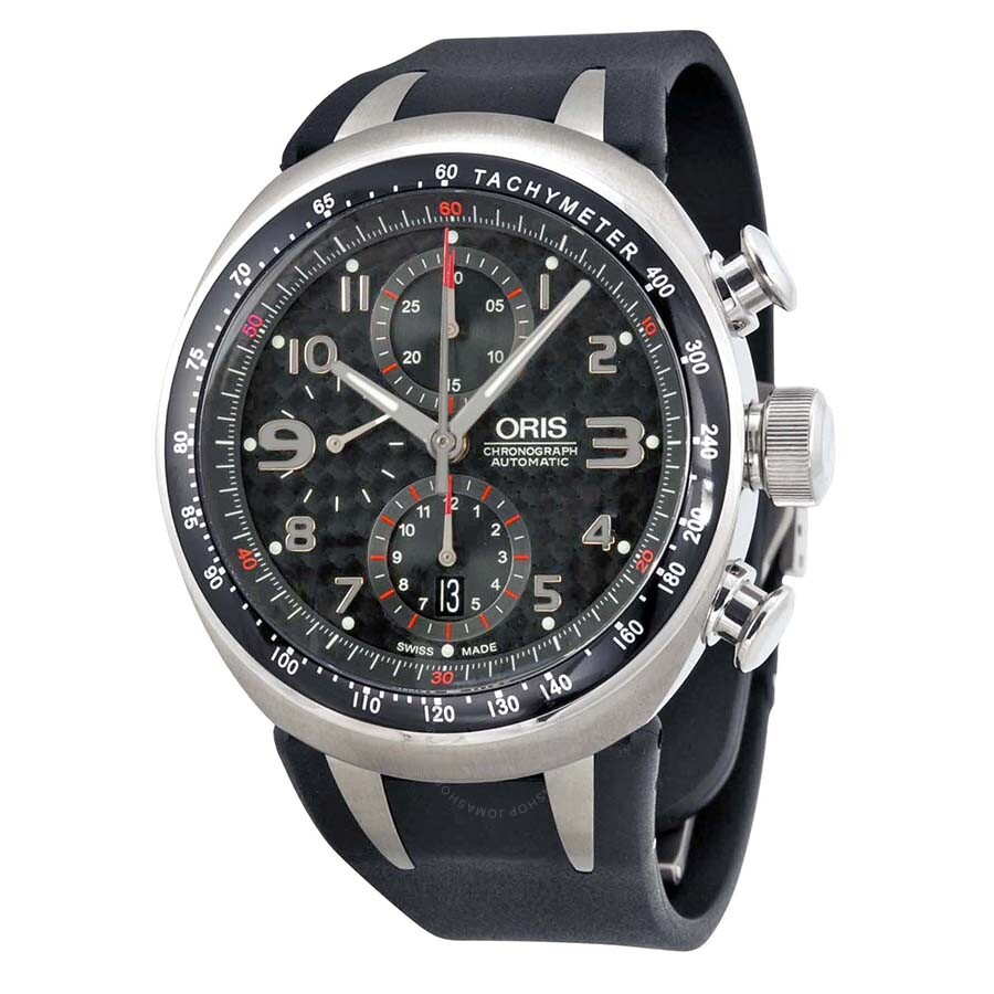 Oris tt3 chronograph black carbon dial black rubber men 39 s automatic watch 674 7587 7264rs tt3 for Oris watches