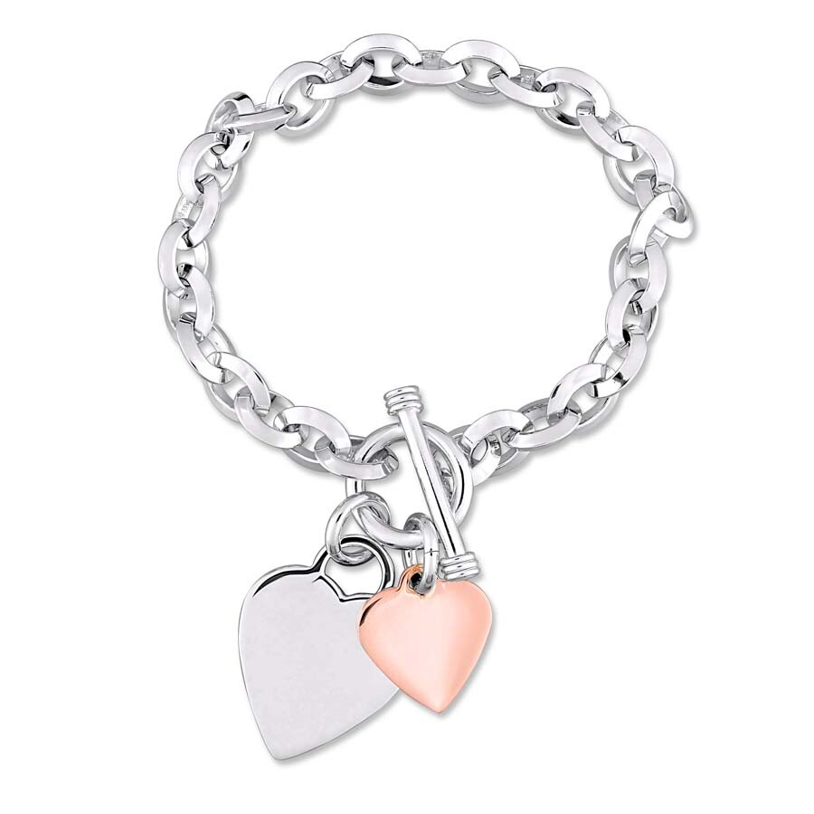 Oval Link Bracelet With Double Heart Charm And Toggle Clasp In 2 Tone Rose