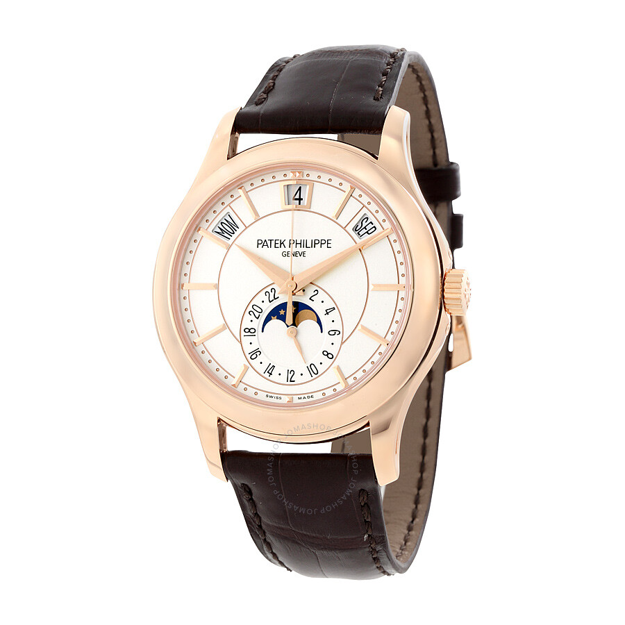 Patek philippe annual calendar opaline white dial brown leather men 39 s watch 5205r 001 for Patek watches