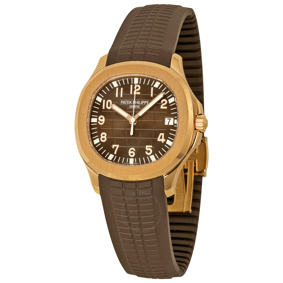 Patek philippe aquanaut brown dial 18k rose gold brown rubber automatic men 39 s watch 5167r 001 for Patek watches