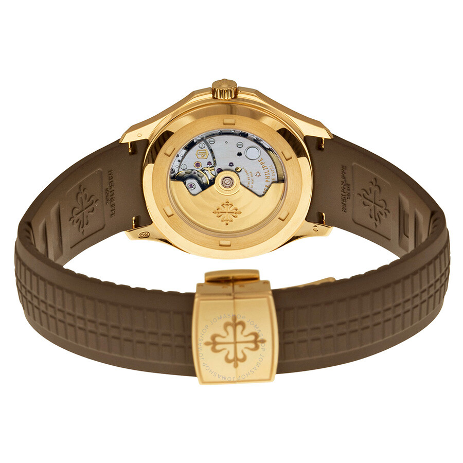 Patek philippe aquanaut brown dial 18k rose gold brown rubber automatic men 39 s watch 5167r 001 for Rubber watches