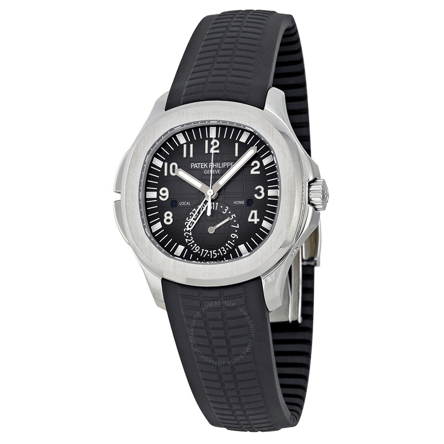 Patek philippe aquanaut dual time black dial automatic men 39 s watch 5164a 001 aquanaut patek for Patek philippe