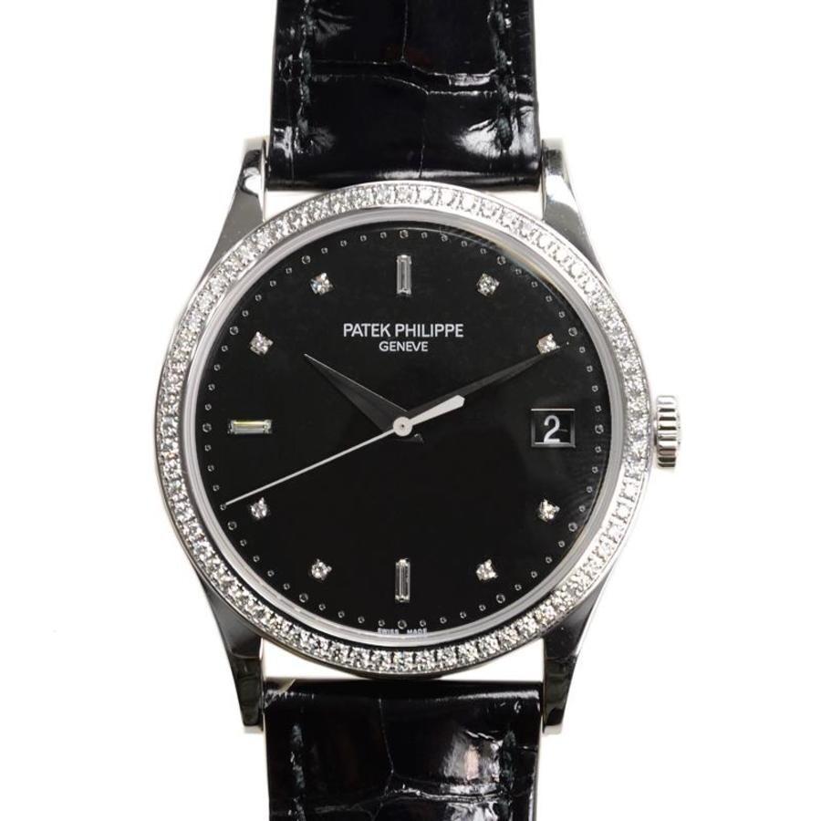9a4300e1319 Patek Philippe Calatrava Automatic Diamond Black Dial Men's Watch 5297G-001  ...