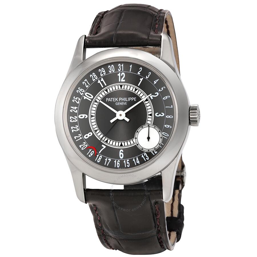 Patek philippe calatrava automatic grey dial 18 kt white gold men 39 s watch 6000g 010 calatrava for Patek watches