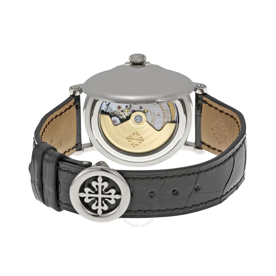 ... Patek Philippe Calatrava Automatic White Dial Black Leather Men's Watch  5153G-010