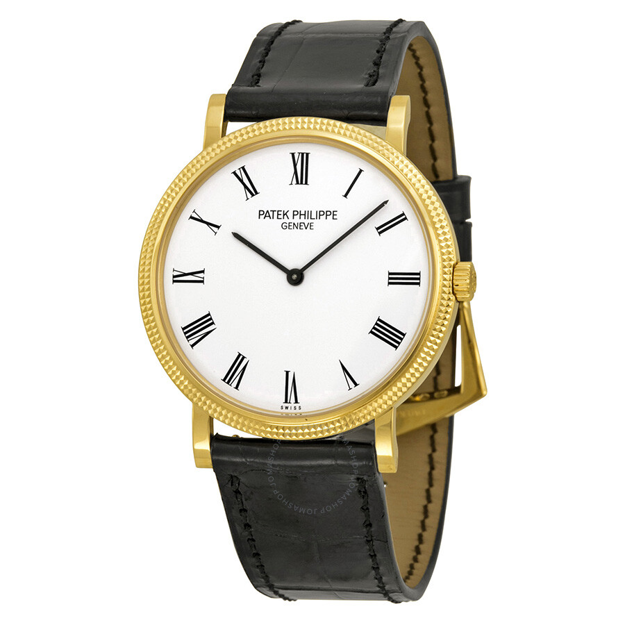 Patek philippe calatrava automatic white dial black leather men 39 s watch 5120j 001 calatrava for Patek philippe