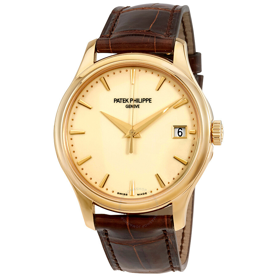 Patek philippe calatrava ivory dial 18kt yellow gold brown leather men 39 s watch 5227j 001 for Patek watches