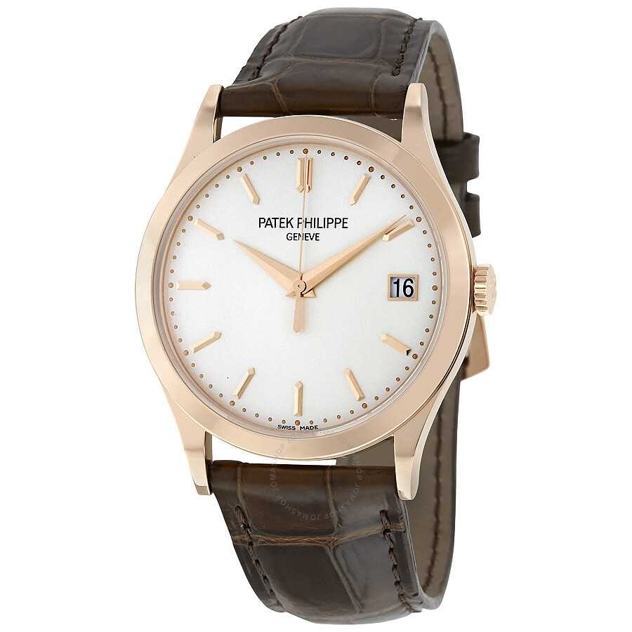 Patek philippe calatrava opaline dial 18kt rose gold brown leather men 39 s watch 5296r 010 for Patek watches