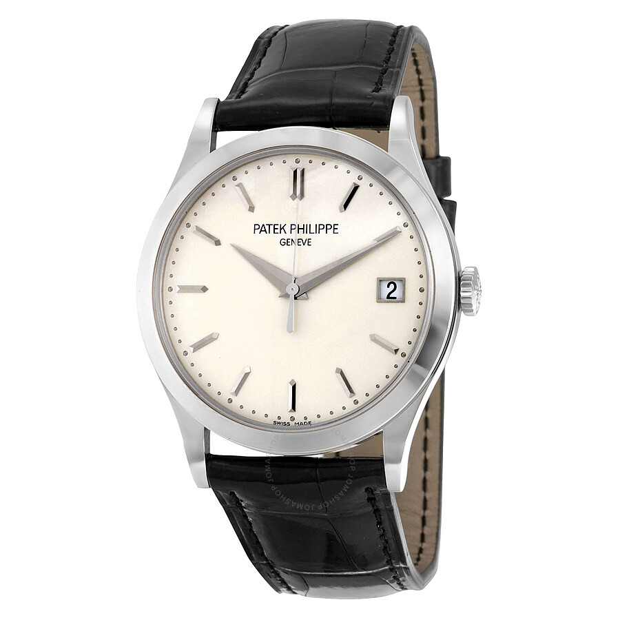 Patek philippe calatrava opaline white dial 18kt white gold men 39 s watch 5296g 010 calatrava for Patek philippe